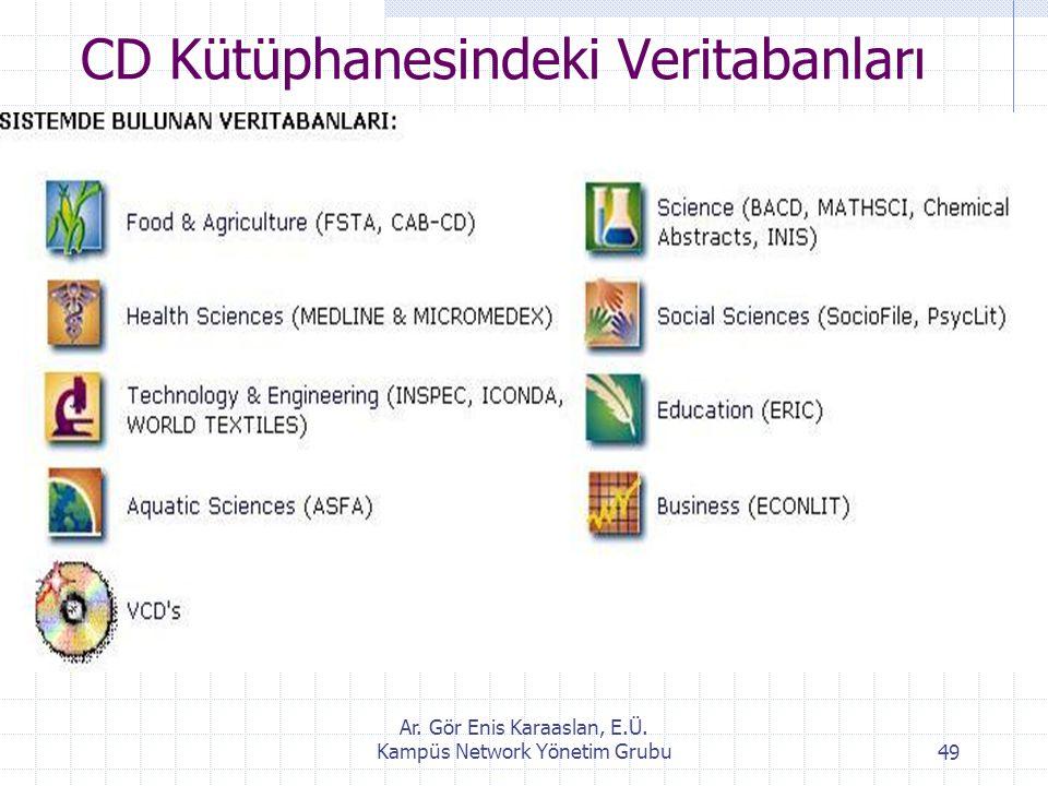 Ar. Gör Enis Karaaslan, E.Ü. Kampüs Network Yönetim Grubu49 CD Kütüphanesindeki Veritabanları