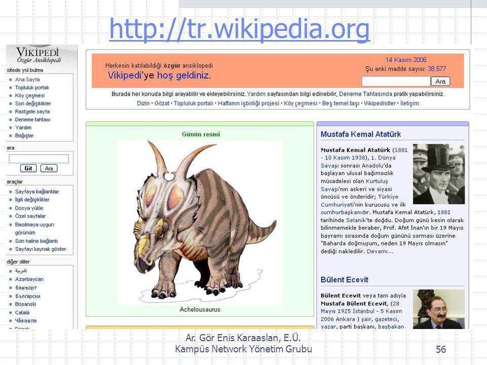 Ar. Gör Enis Karaaslan, E.Ü. Kampüs Network Yönetim Grubu56 http://tr.wikipedia.org