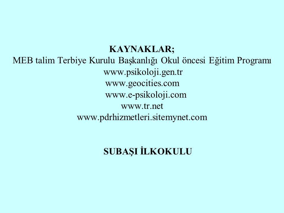 Subaşı İlkokulu KAYNAKLAR; MEB talim Terbiye Kurulu Başkanlığı Okul öncesi Eğitim Programı www.psikoloji.gen.tr www.geocities.com www.e-psikoloji.com