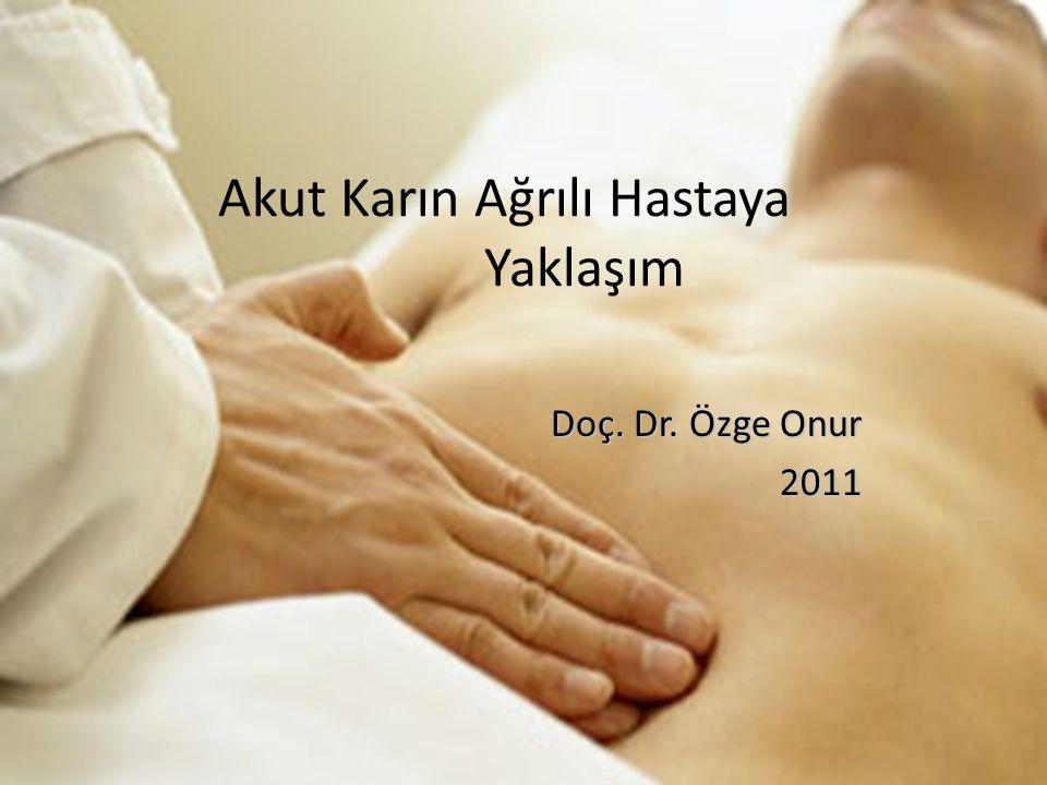 Akut Karın Ağrılı Hastaya Yaklaşım Doç. Dr. Özge Onur 2011