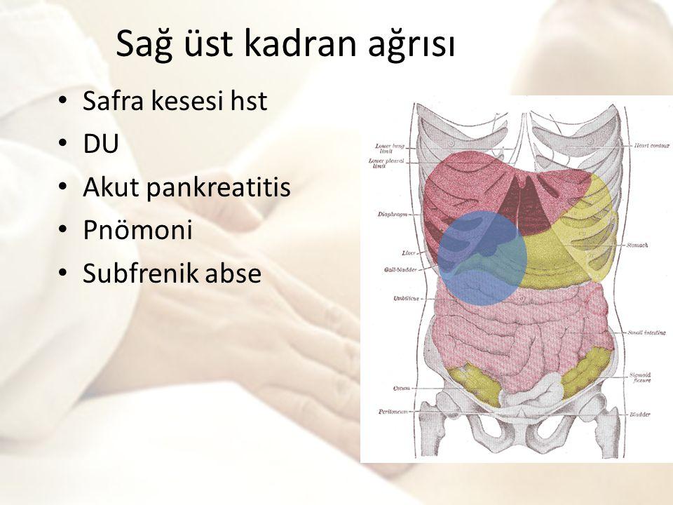 Sağ üst kadran ağrısı Safra kesesi hst DU Akut pankreatitis Pnömoni Subfrenik abse