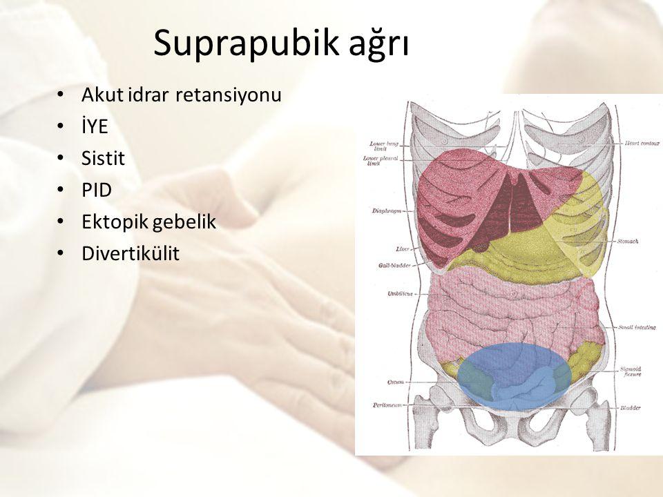 Suprapubik ağrı Akut idrar retansiyonu İYE Sistit PID Ektopik gebelik Divertikülit