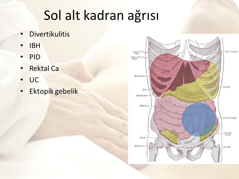 Sol alt kadran ağrısı Divertikulitis IBH PID Rektal Ca UC Ektopik gebelik