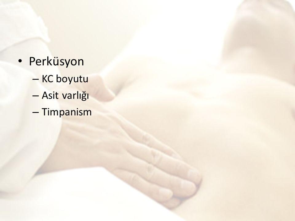 Perküsyon – KC boyutu – Asit varlığı – Timpanism