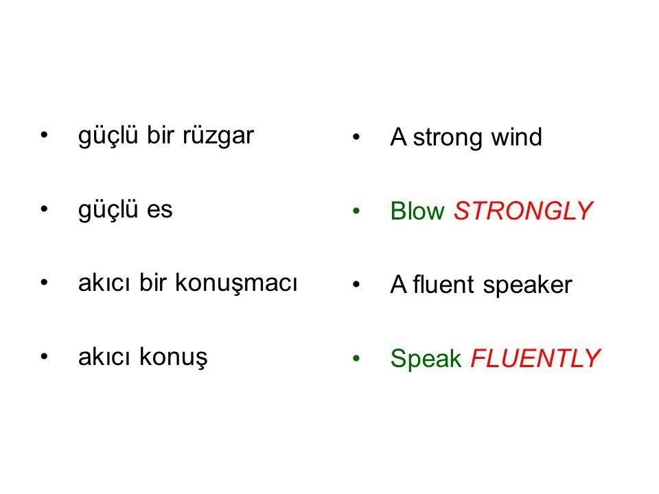 güçlü bir rüzgar güçlü es akıcı bir konuşmacı akıcı konuş A strong wind Blow STRONGLY A fluent speaker Speak FLUENTLY