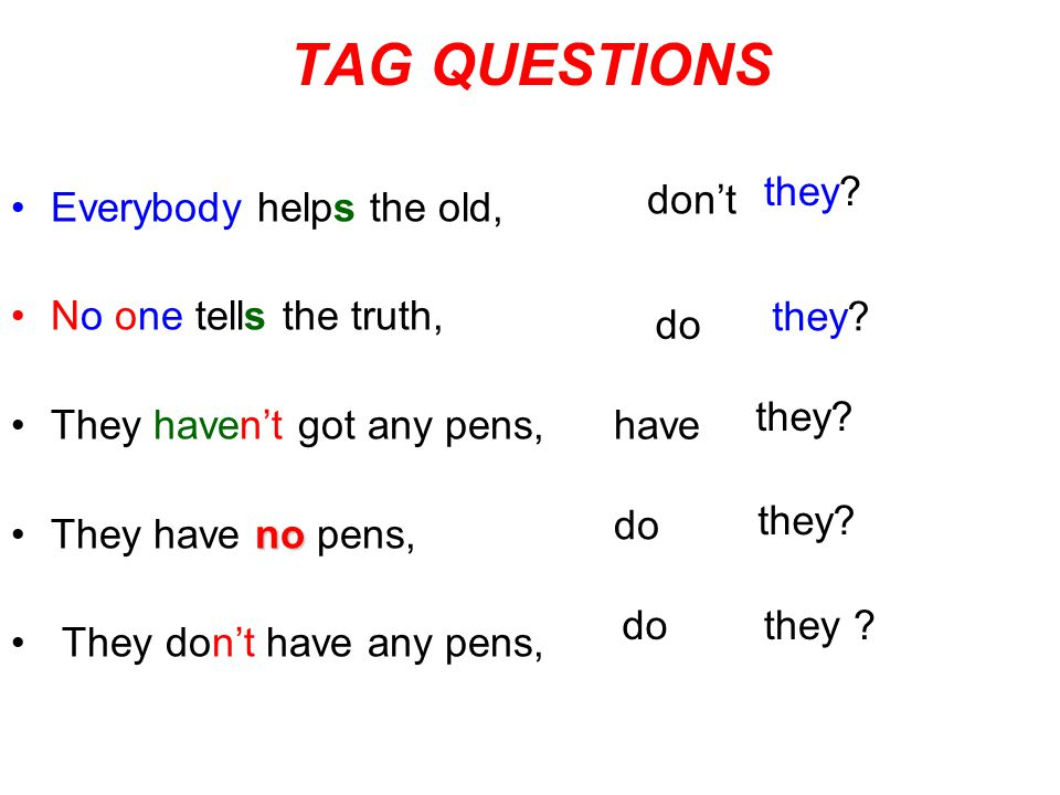 TAG QUESTIONS Everybody helps the old, No one tells the truth, They haven't got any pens, noThey have no pens, They don't have any pens, don't they? d