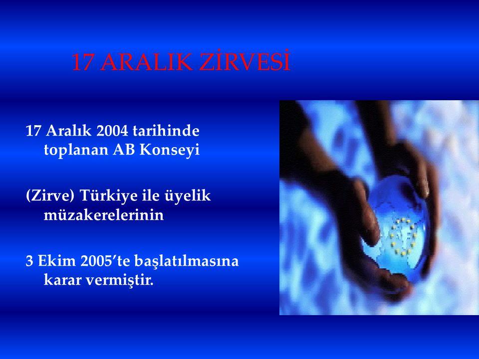 17 ARALIK ZİRVESİ 17 Aralık 2004 tarihinde toplanan AB Konseyi (Zirve) Türkiye ile üyelik müzakerelerinin 3 Ekim 2005'te başlatılmasına karar vermişti