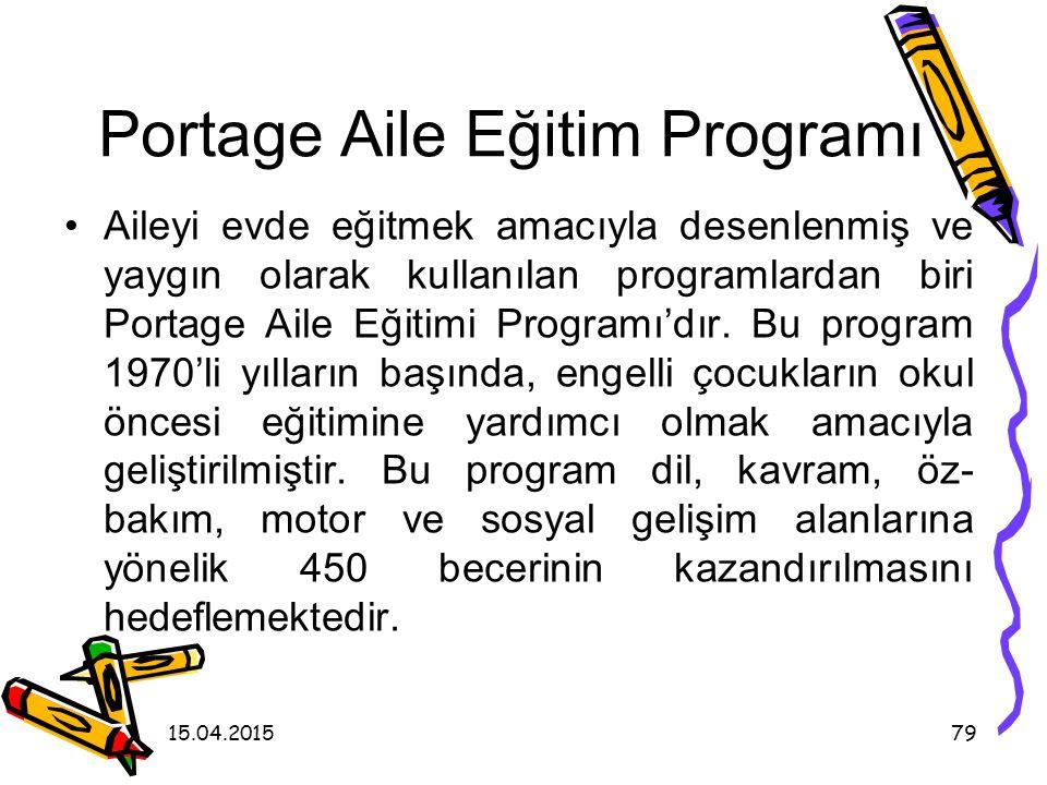 15.04.201578 I. Ev Merkezli Aile Eğitimi Programları Ailenin evde eğitilmesi, evin verimli bir eğitim ortamı haline getirilmesinde avantajlı bir desen