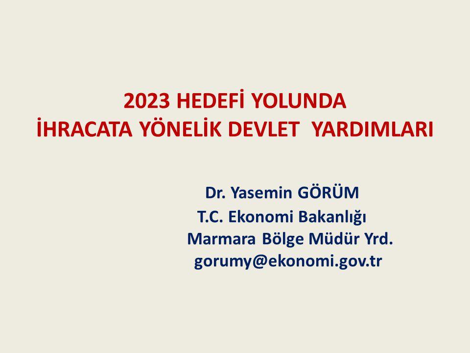 2023 HEDEFİ YOLUNDA İHRACATA YÖNELİK DEVLET YARDIMLARI Dr.