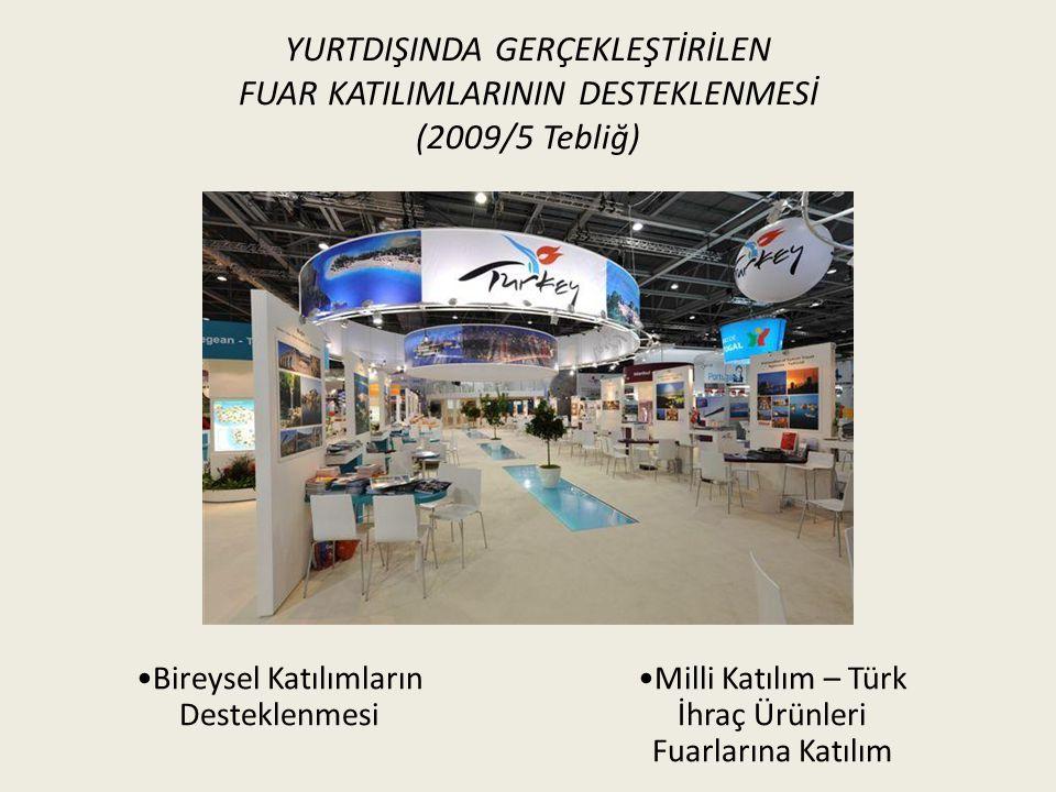 YURTDIŞINDA GERÇEKLEŞTİRİLEN FUAR KATILIMLARININ DESTEKLENMESİ (2009/5 Tebliğ) Milli Katılım – Türk İhraç Ürünleri Fuarlarına Katılım Bireysel Katılımların Desteklenmesi