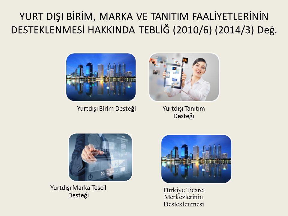 YURT DIŞI BİRİM, MARKA VE TANITIM FAALİYETLERİNİN DESTEKLENMESİ HAKKINDA TEBLİĞ (2010/6) (2014/3) Değ.