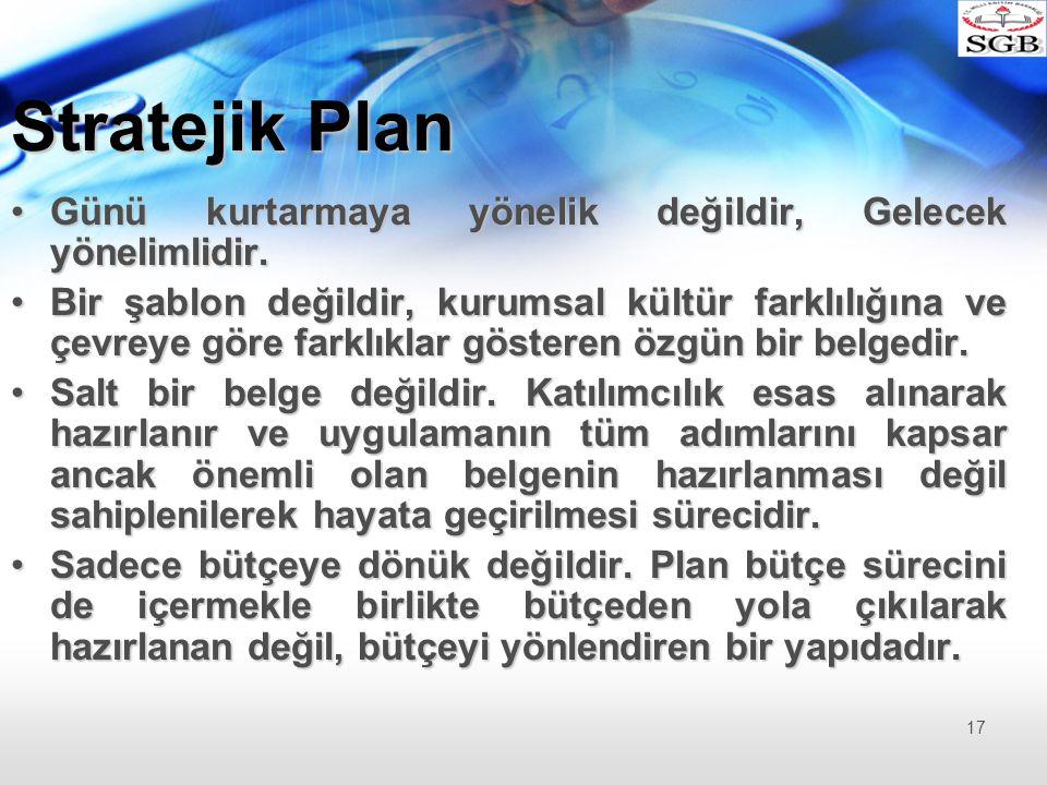 Stratejik Plan Günü kurtarmaya yönelik değildir, Gelecek yönelimlidir.Günü kurtarmaya yönelik değildir, Gelecek yönelimlidir. Bir şablon değildir, kur