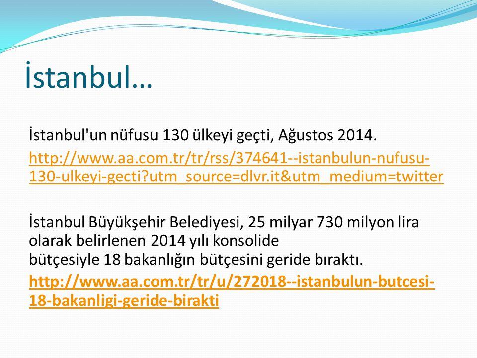 İstanbul… İstanbul'un nüfusu 130 ülkeyi geçti, Ağustos 2014. http://www.aa.com.tr/tr/rss/374641--istanbulun-nufusu- 130-ulkeyi-gecti?utm_source=dlvr.i