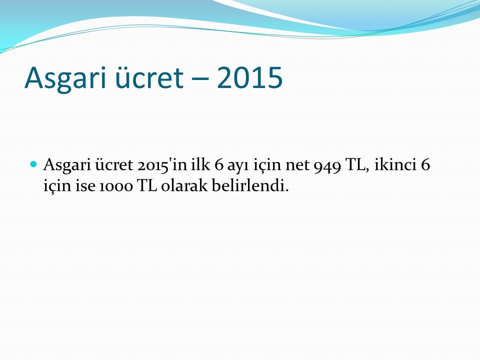 Asgari ücret – 2015 Asgari ücret 2015'in ilk 6 ayı için net 949 TL, ikinci 6 için ise 1000 TL olarak belirlendi.