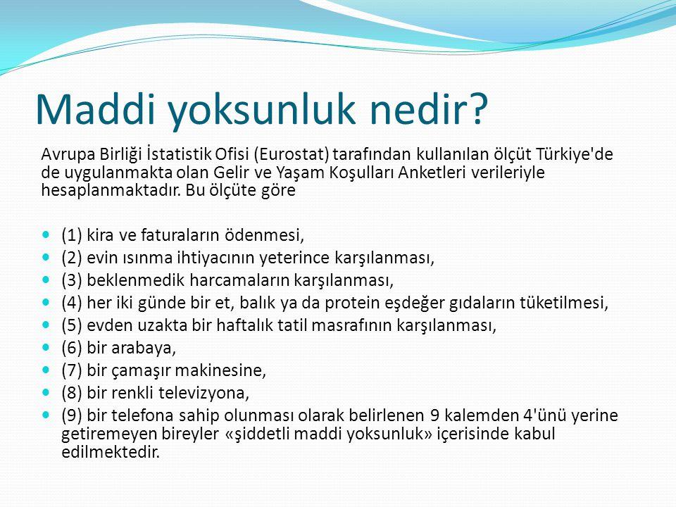 Maddi yoksunluk nedir? Avrupa Birliği İstatistik Ofisi (Eurostat) tarafından kullanılan ölçüt Türkiye'de de uygulanmakta olan Gelir ve Yaşam Koşulları