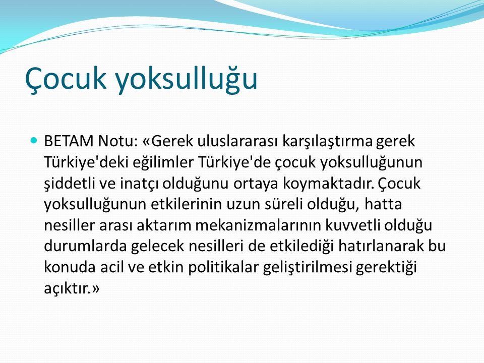 Çocuk yoksulluğu BETAM Notu: «Gerek uluslararası karşılaştırma gerek Türkiye'deki eğilimler Türkiye'de çocuk yoksulluğunun şiddetli ve inatçı olduğunu
