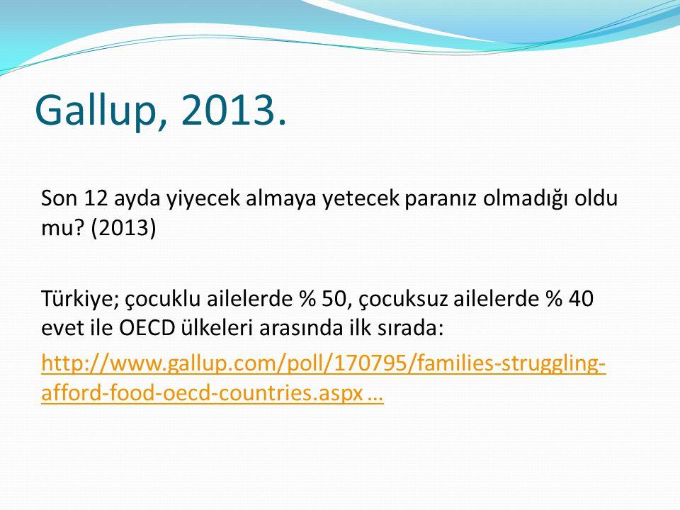 Gallup, 2013. Son 12 ayda yiyecek almaya yetecek paranız olmadığı oldu mu? (2013) Türkiye; çocuklu ailelerde % 50, çocuksuz ailelerde % 40 evet ile OE