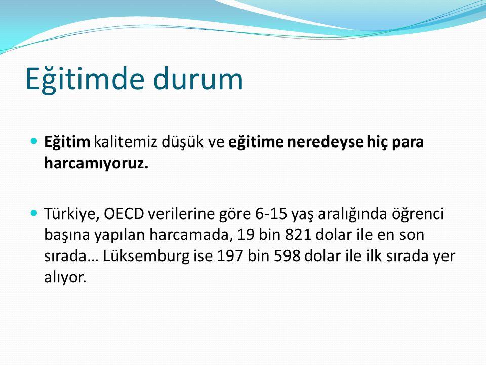 Eğitimde durum Eğitim kalitemiz düşük ve eğitime neredeyse hiç para harcamıyoruz. Türkiye, OECD verilerine göre 6-15 yaş aralığında öğrenci başına yap