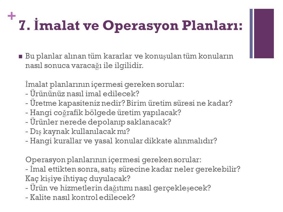 + 7. İ malat ve Operasyon Planları: Bu planlar alınan tüm kararlar ve konu ş ulan tüm konuların nasıl sonuca varaca ğ ı ile ilgilidir. İ malat planlar
