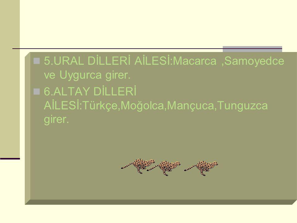 5.URAL DİLLERİ AİLESİ:Macarca,Samoyedce ve Uygurca girer.