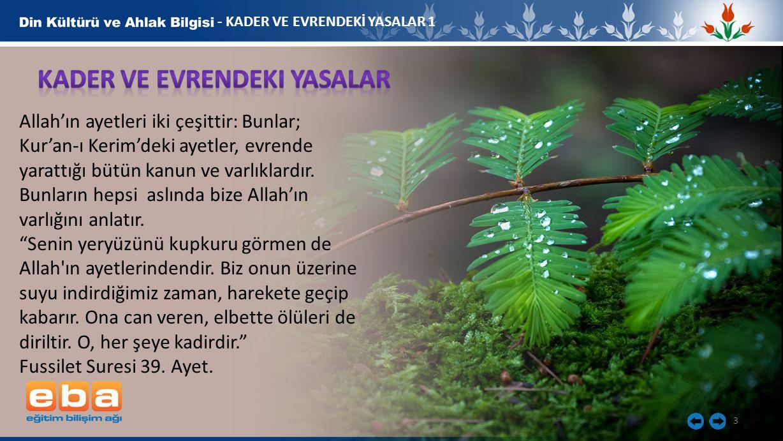 3 - KADER VE EVRENDEKİ YASALAR 1 Allah'ın ayetleri iki çeşittir: Bunlar; Kur'an-ı Kerim'deki ayetler, evrende yarattığı bütün kanun ve varlıklardır. B