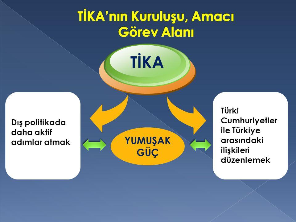 TİKA;  28 Mayıs 1999'da başbakanlığa bağlandı  12 Mayıs 2001 tüzel kişilik kazandı Bu aşamadan sonra;  Türkiye'nin yumuşak güç politikalarında kurumlararası eşgüdümü sağlayan bir üst kuruma dönüşmüştür.