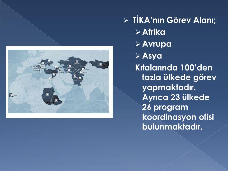  TİKA'nın Görev Alanı;  Afrika  Avrupa  Asya Kıtalarında 100'den fazla ülkede görev yapmaktadır. Ayrıca 23 ülkede 26 program koordinasyon ofisi bu