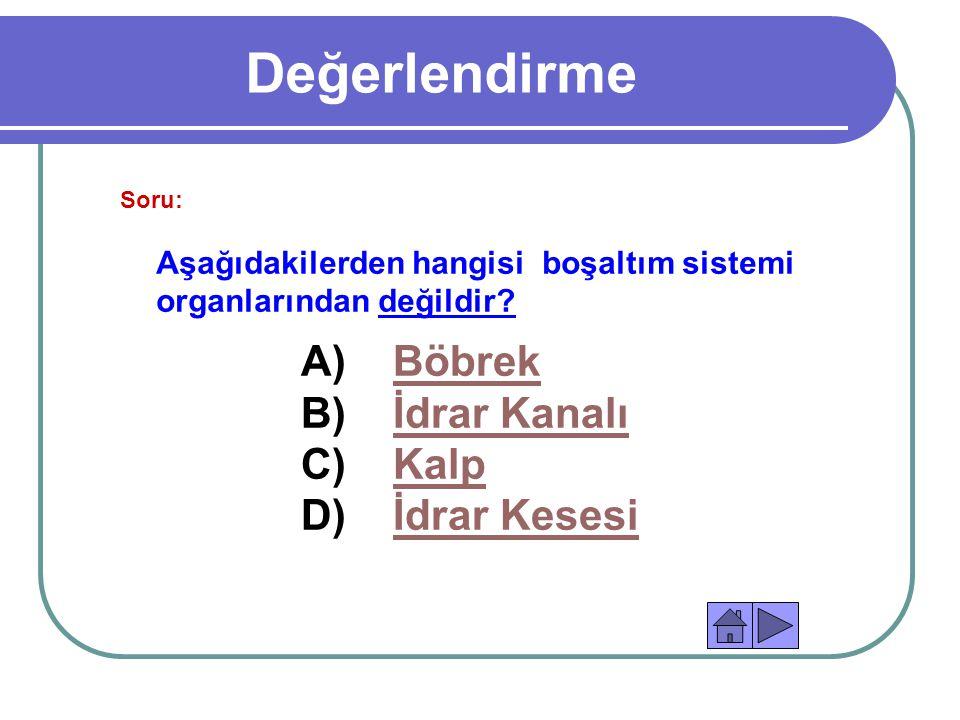 Değerlendirme Soru: Aşağıdakilerden hangisi boşaltım sistemi organlarından değildir? A) BöbrekBöbrek B) İdrar Kanalıİdrar Kanalı C) KalpKalp D) İdrar