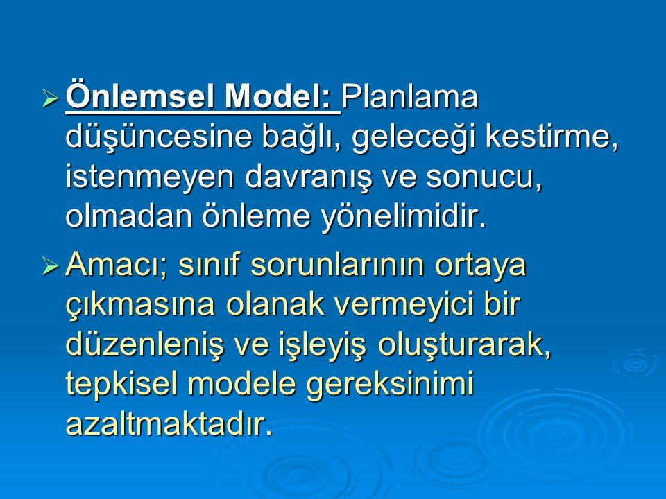  Önlemsel Model: Planlama düşüncesine bağlı, geleceği kestirme, istenmeyen davranış ve sonucu, olmadan önleme yönelimidir.  Amacı; sınıf sorunlarını