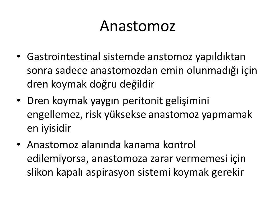 Anastomoz Gastrointestinal sistemde anstomoz yapıldıktan sonra sadece anastomozdan emin olunmadığı için dren koymak doğru değildir Dren koymak yaygın
