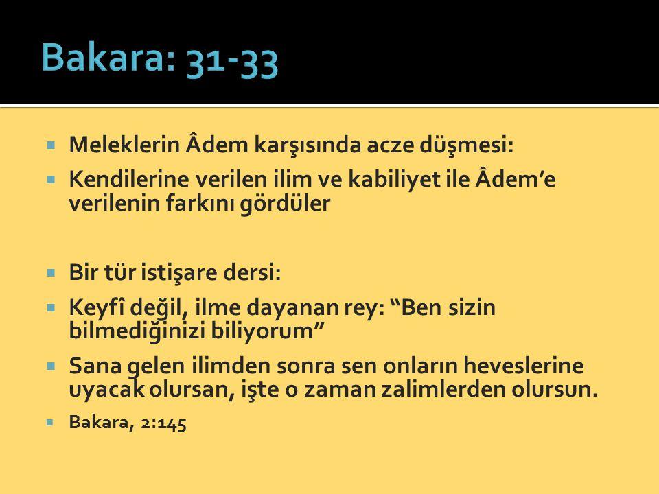  Meleklerin Âdem karşısında acze düşmesi:  Kendilerine verilen ilim ve kabiliyet ile Âdem'e verilenin farkını gördüler  Bir tür istişare dersi:  K