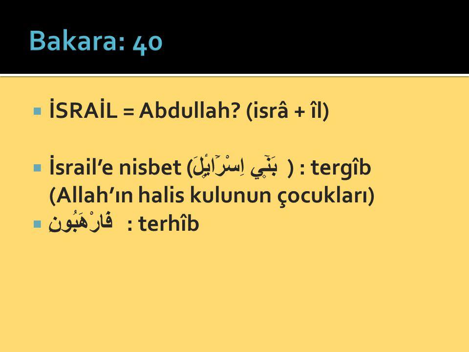  İSRAİL = Abdullah? (isrâ + îl)  İsrail'e nisbet ( بَن۪ٓي اِسْرَٓائ۪لَ ) : tergîb (Allah'ın halis kulunun çocukları)  فَارْهَبُونِ : terhîb