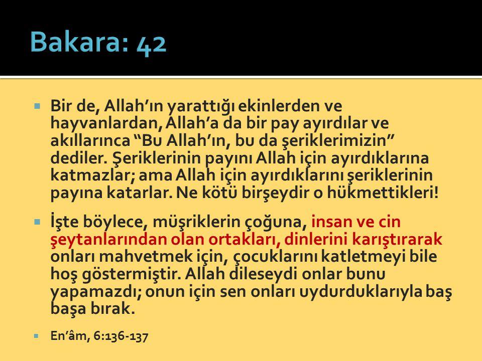 """ Bir de, Allah'ın yarattığı ekinlerden ve hayvanlardan, Allah'a da bir pay ayırdılar ve akıllarınca """"Bu Allah'ın, bu da şeriklerimizin"""" dediler. Şeri"""