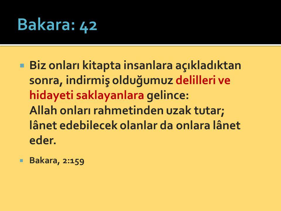  Biz onları kitapta insanlara açıkladıktan sonra, indirmiş olduğumuz delilleri ve hidayeti saklayanlara gelince: Allah onları rahmetinden uzak tutar;