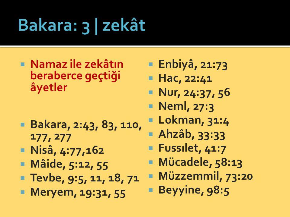  Namaz ile zekâtın beraberce geçtiği âyetler  Bakara, 2:43, 83, 110, 177, 277  Nisâ, 4:77,162  Mâide, 5:12, 55  Tevbe, 9:5, 11, 18, 71  Meryem,