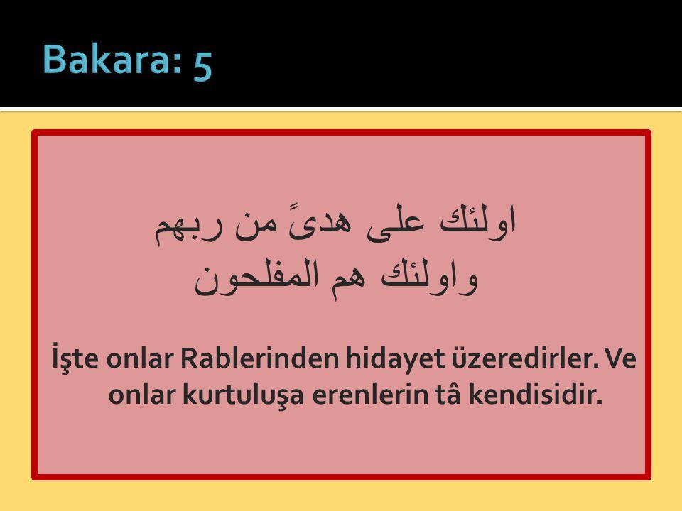 اولئك على هدىً من ربهم واولئك هم المفلحون İşte onlar Rablerinden hidayet üzeredirler. Ve onlar kurtuluşa erenlerin tâ kendisidir.