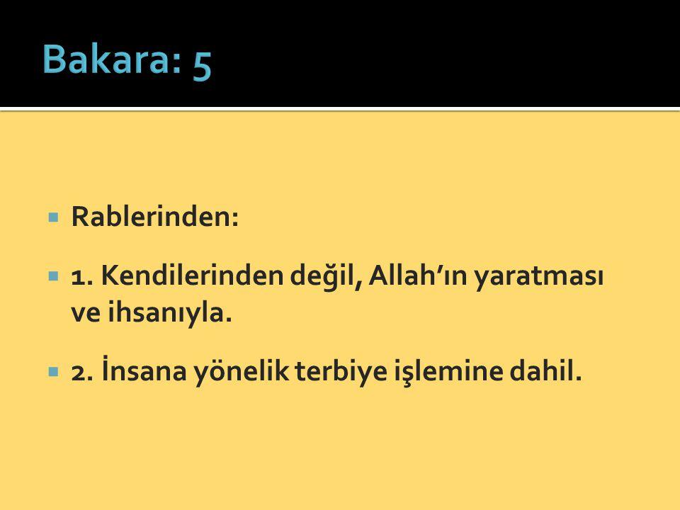  Rablerinden:  1. Kendilerinden değil, Allah'ın yaratması ve ihsanıyla.  2. İnsana yönelik terbiye işlemine dahil.