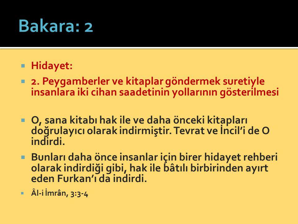  Hidayet:  2. Peygamberler ve kitaplar göndermek suretiyle insanlara iki cihan saadetinin yollarının gösterilmesi  O, sana kitabı hak ile ve daha ö