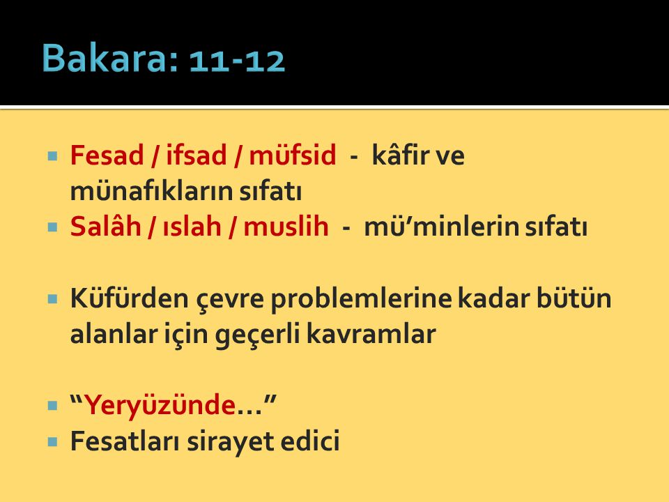  Fesad / ifsad / müfsid - kâfir ve münafıkların sıfatı  Salâh / ıslah / muslih - mü'minlerin sıfatı  Küfürden çevre problemlerine kadar bütün alanl