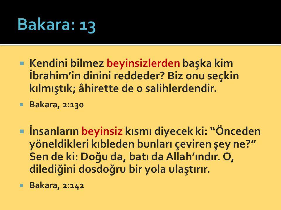  Kendini bilmez beyinsizlerden başka kim İbrahim'in dinini reddeder? Biz onu seçkin kılmıştık; âhirette de o salihlerdendir.  Bakara, 2:130  İnsanl