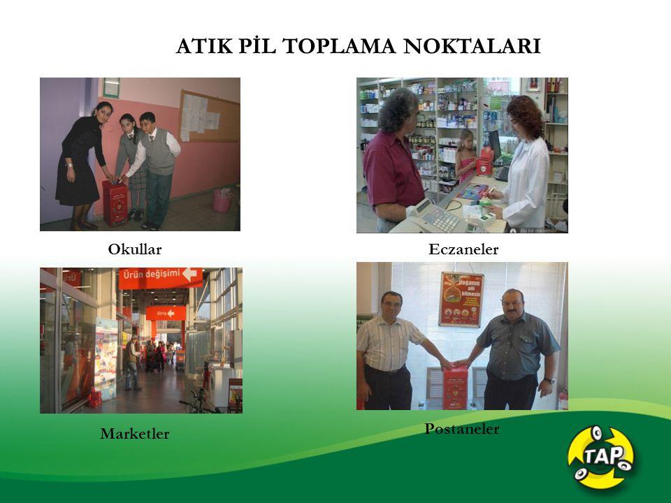 ATIK PİL TOPLAMA NOKTALARI Okullar Marketler Eczaneler Postaneler