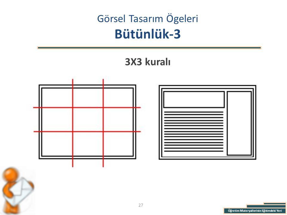 Öğretim Materyallerinin Eğitimdeki Yeri Görsel Tasarım Ögeleri Bütünlük-3 3X3 kuralı 27