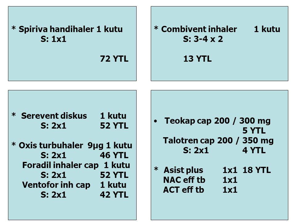 * Spiriva handihaler 1 kutu S: 1x1 72 YTL * Serevent diskus 1 kutu S: 2x1 52 YTL * Oxis turbuhaler 9μg 1 kutu S: 2x146 YTL Foradil inhaler cap 1 kutu