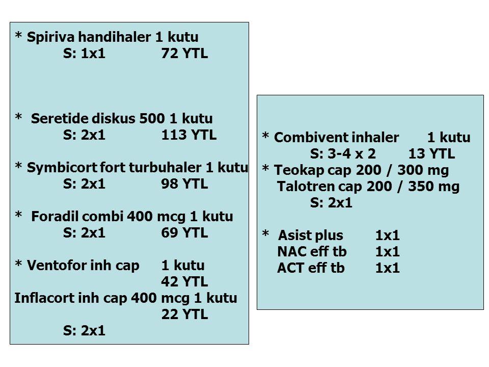 * Spiriva handihaler 1 kutu S: 1x172 YTL * Seretide diskus 500 1 kutu S: 2x1113 YTL * Symbicort fort turbuhaler 1 kutu S: 2x198 YTL * Foradil combi 40