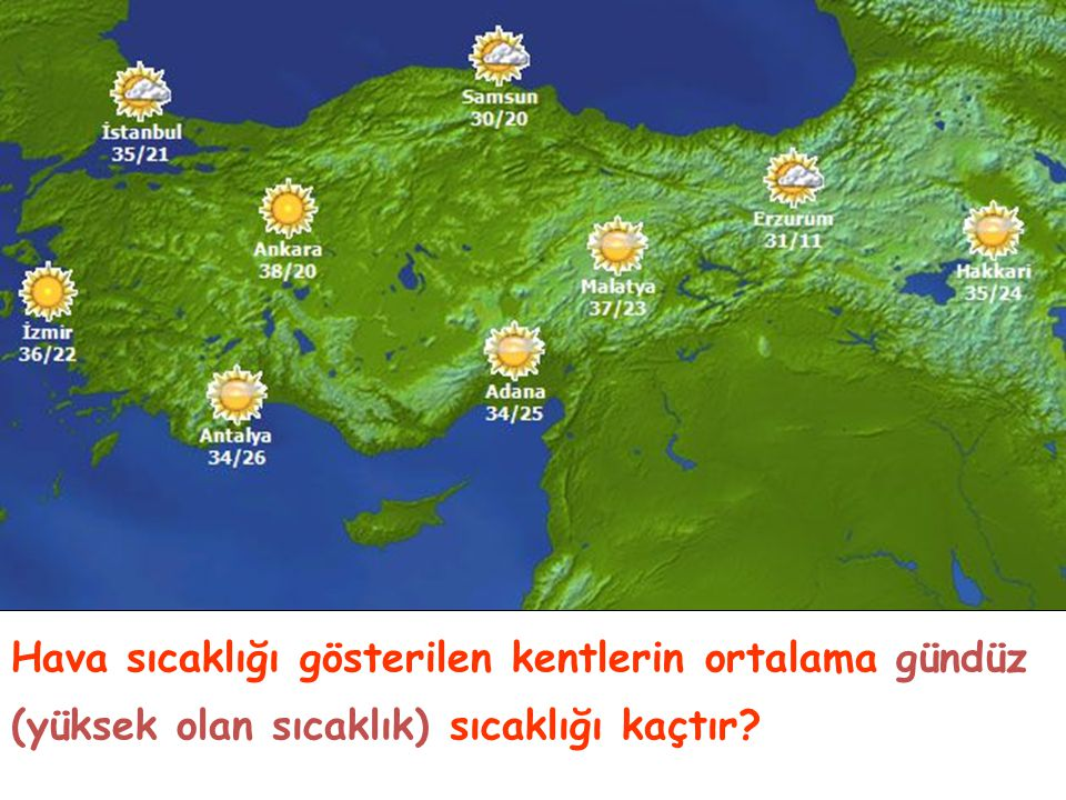 Hava sıcaklığı gösterilen kentlerin ortalama gündüz (yüksek olan sıcaklık) sıcaklığı kaçtır