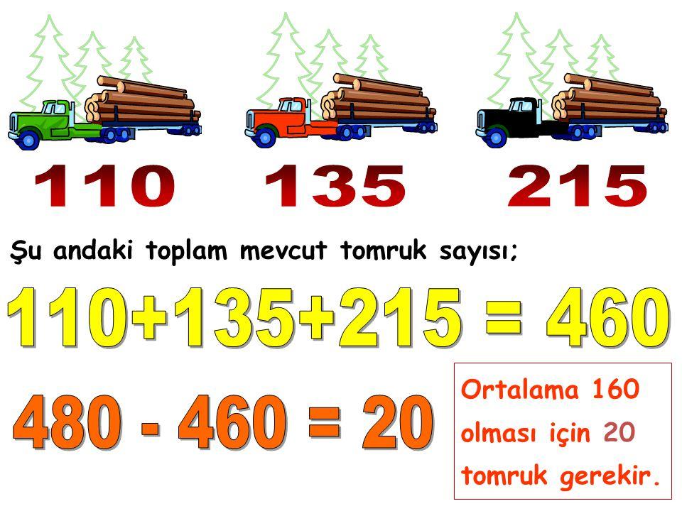 Şu andaki toplam mevcut tomruk sayısı; Ortalama 160 olması için 20 tomruk gerekir.