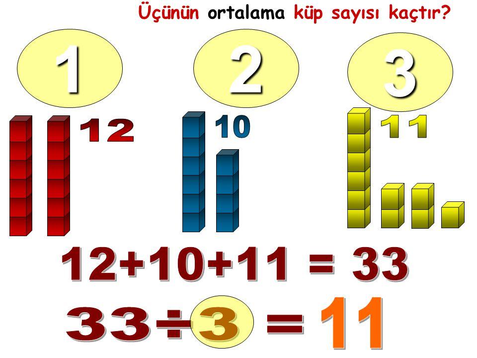 Üçünün ortalama küp sayısı kaçtır 12 3