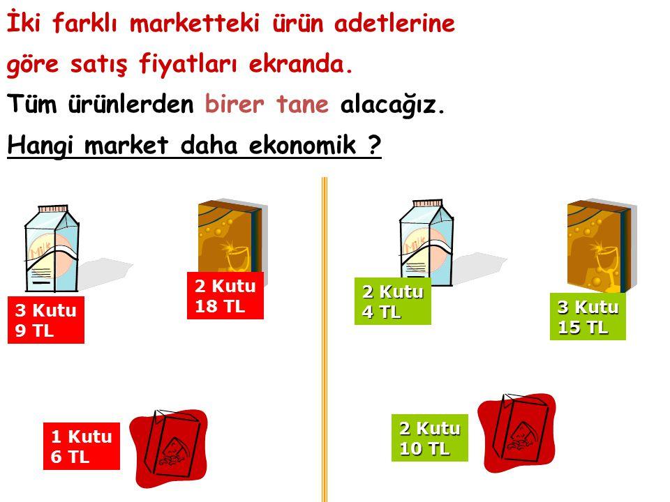 İki farklı marketteki ürün adetlerine göre satış fiyatları ekranda.