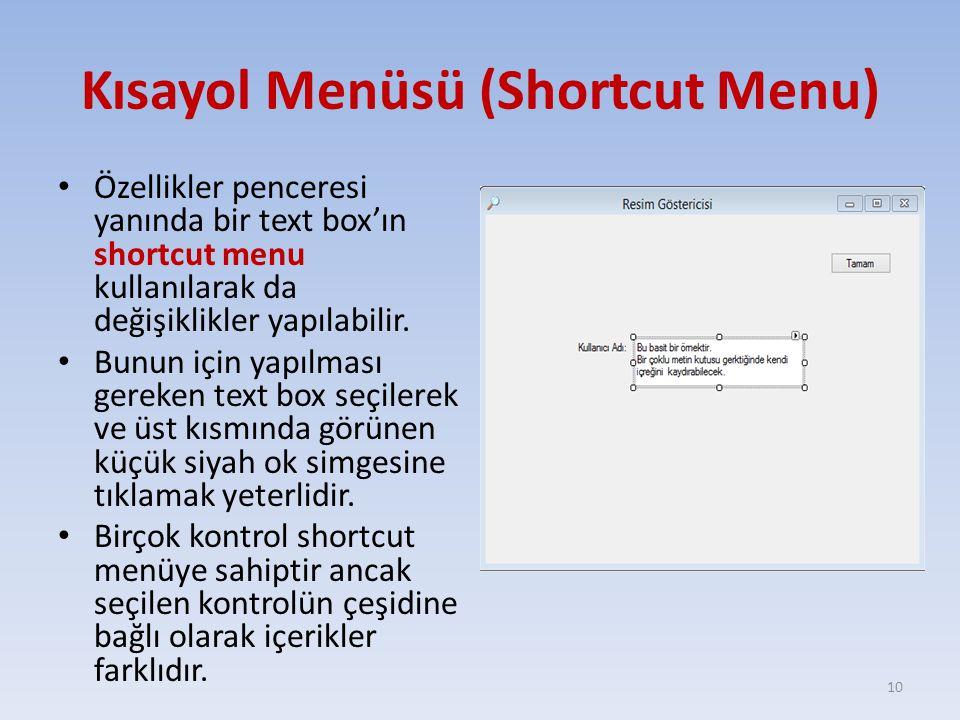 Kısayol Menüsü (Shortcut Menu) Özellikler penceresi yanında bir text box'ın shortcut menu kullanılarak da değişiklikler yapılabilir.
