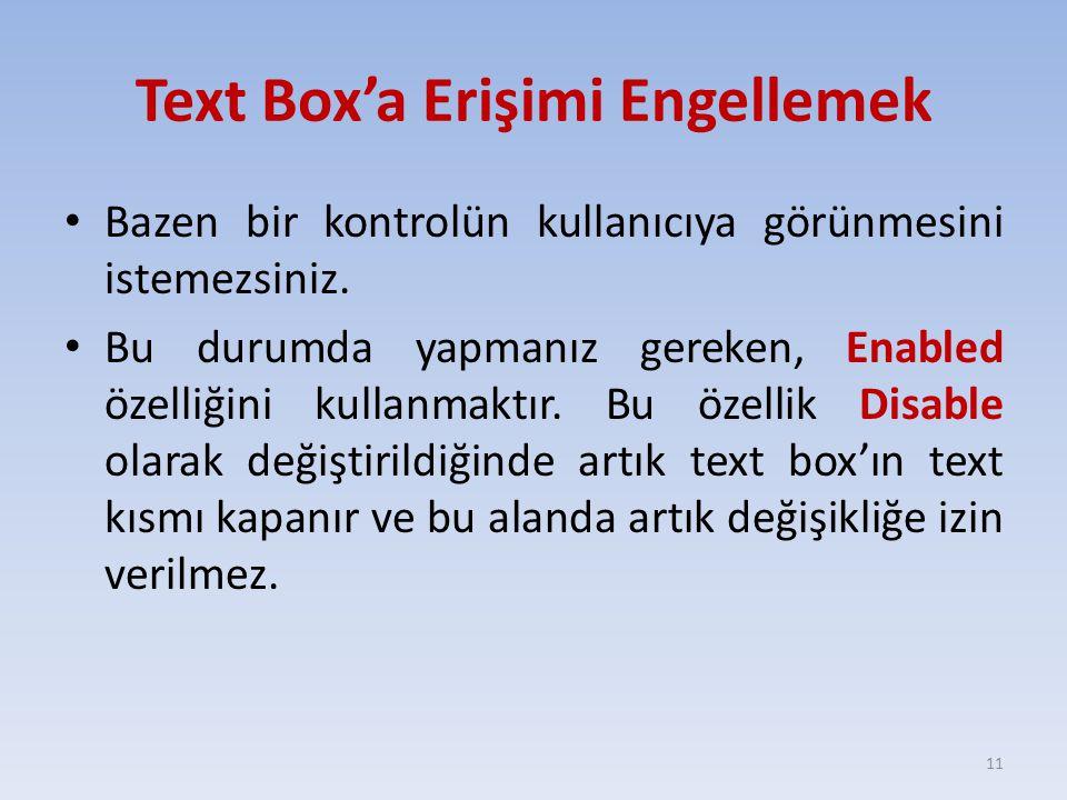 Text Box'a Erişimi Engellemek Bazen bir kontrolün kullanıcıya görünmesini istemezsiniz. Bu durumda yapmanız gereken, Enabled özelliğini kullanmaktır.